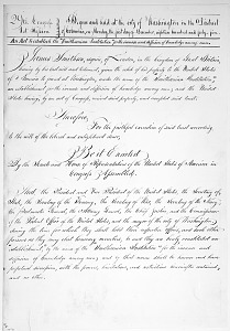 Image of Facsimle of the Act to Establish Smithsonian Institution