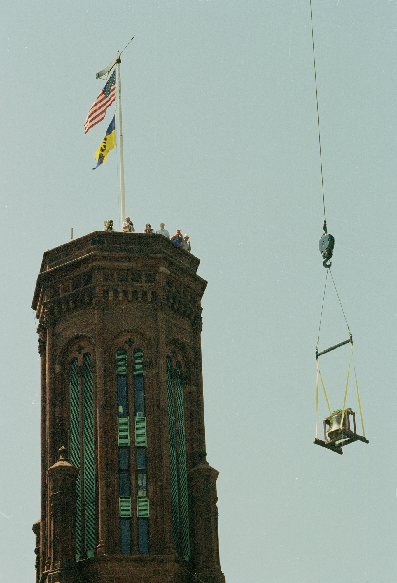 Hoisting the New Bell for the Flag Tower, Smithsonian Institution Building