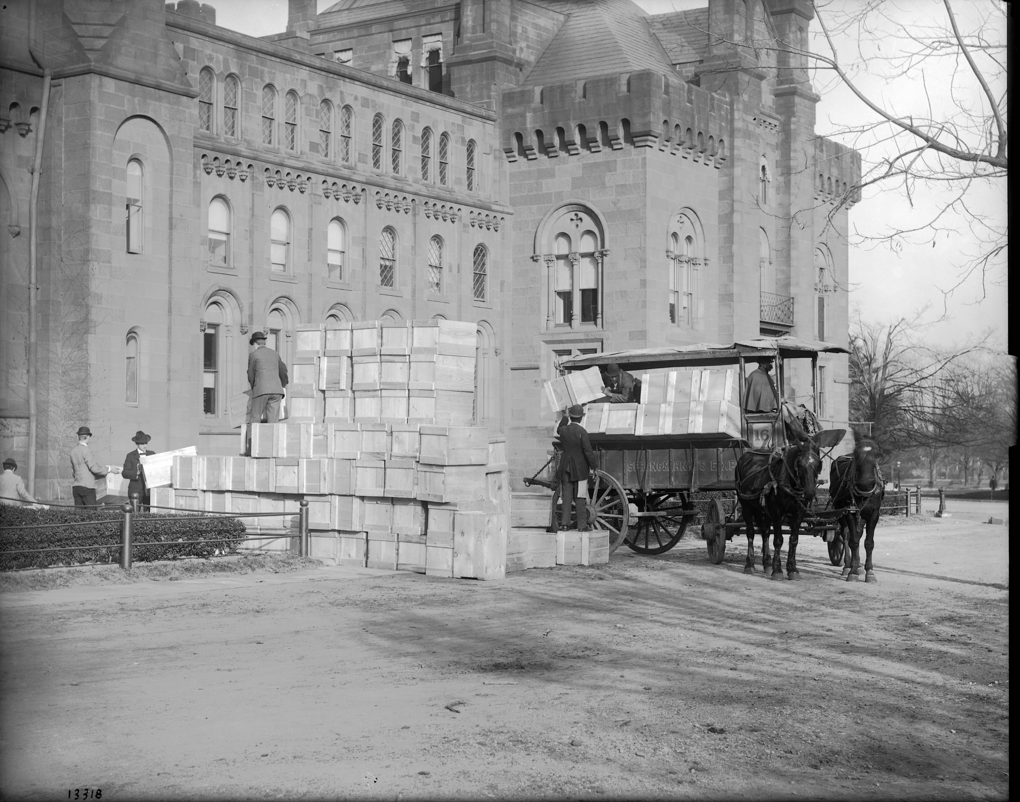 Photograph shows publications being shipped in the early 20th century. Smithsonian Institution Archives, negative number mah-13318.