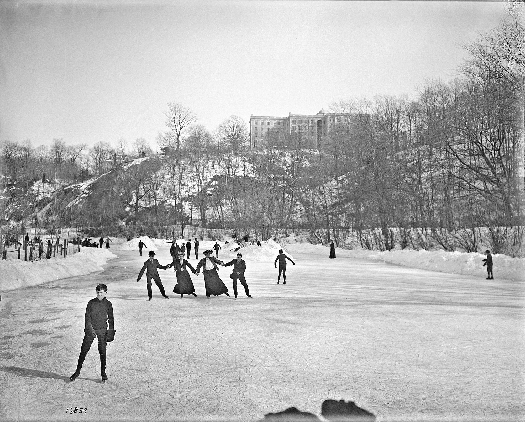 Skaters on Rock Creek, by Unknown, c. 1905, Smithsonian Archives - History Div, MAH-16839.