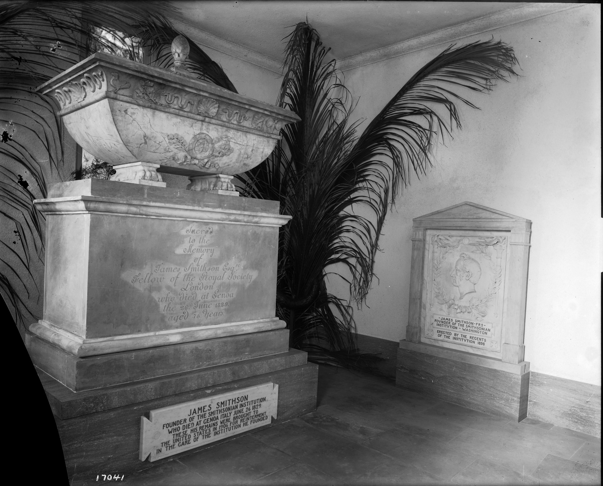 Crypt of James Smithson, by Unknown, 1905, Smithsonian Archives - History Div, MAH-17041.