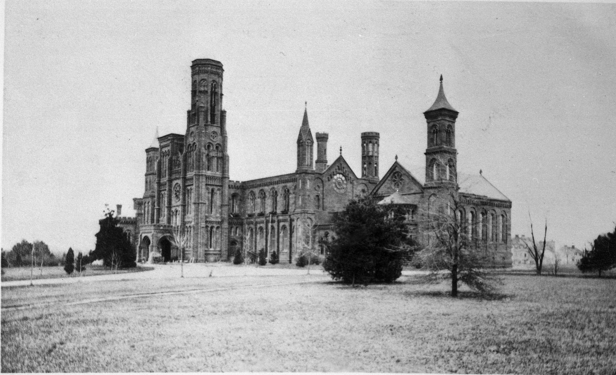 Photograph of Smithsonian Institution Building shortly after the fire of January 1865. Smithsonian Institution Archives, negative number mah-30792a.