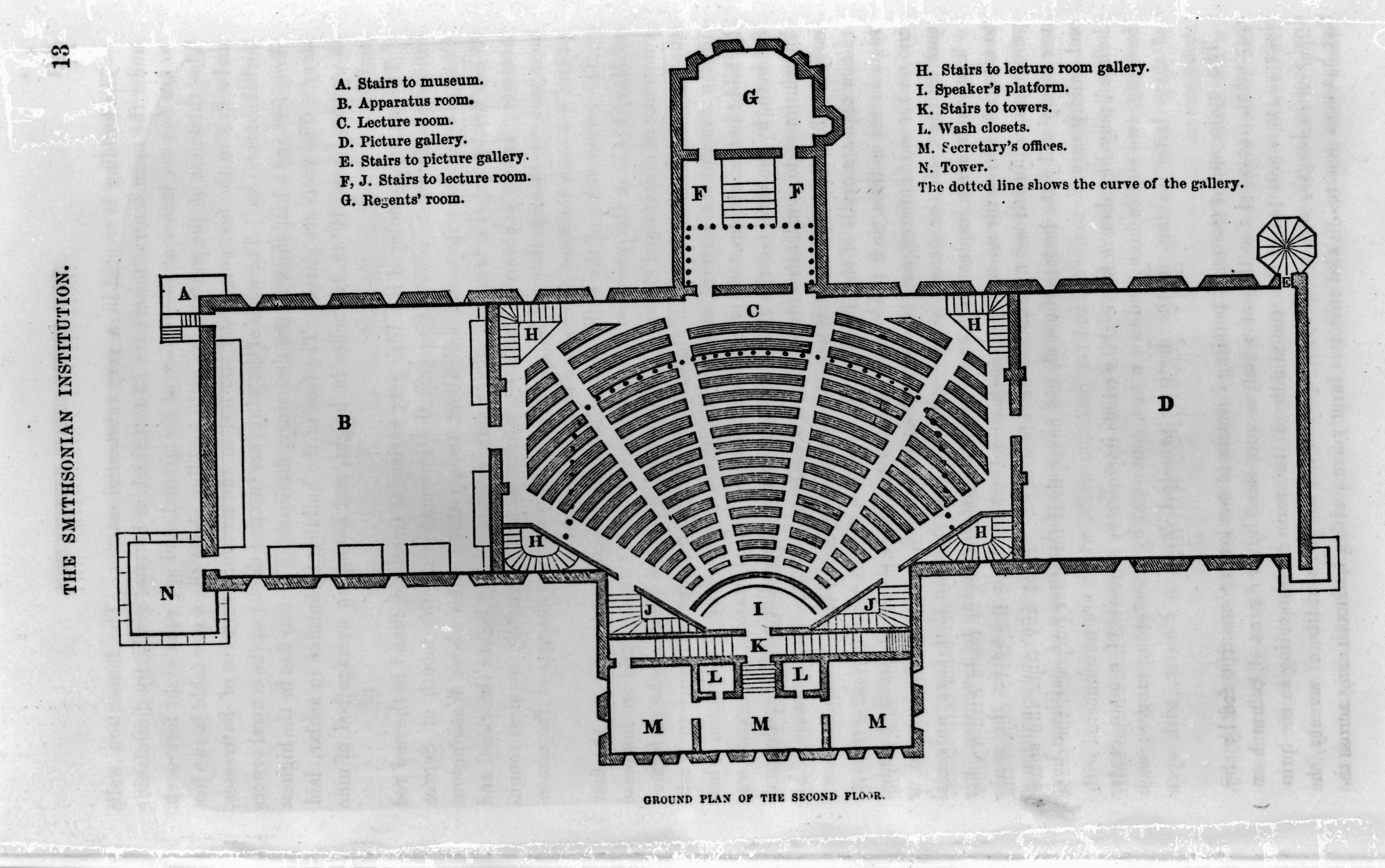 Image of Smithsonian Institution Building floor plan from the new Guidebook, 1856. Smithsonian Institution Archives, negative number mah-43804j.
