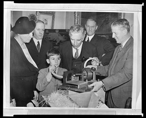 Image of Opening of Box Containing Thomas Edison's Graphophone