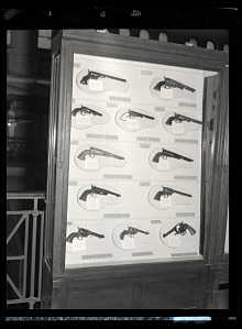 Image of Small Arms Exhibit Case Containing Pistols