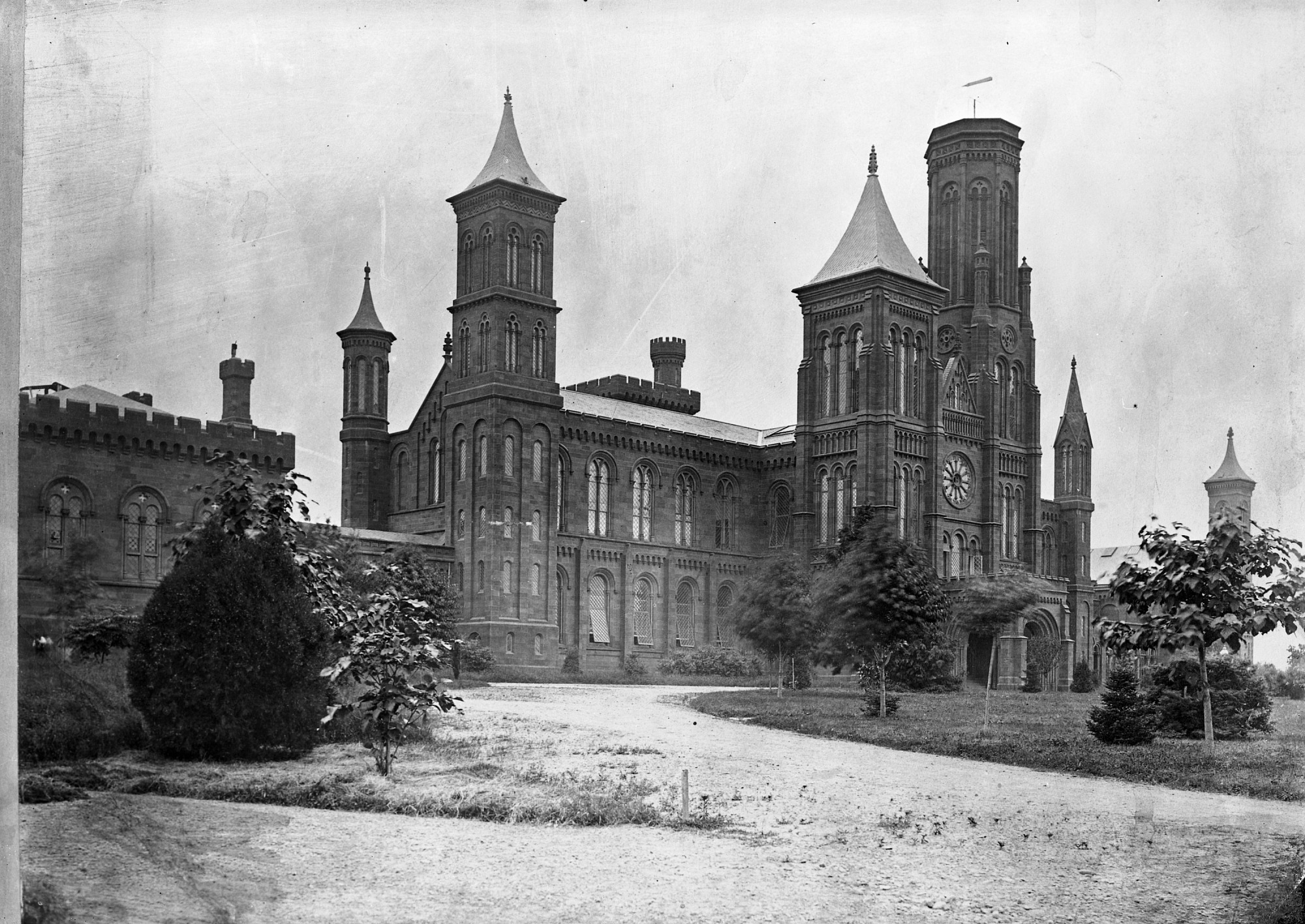 Photograph of Smithsonian Castle from the north was taken late 1850s. Smithsonian Institution Archives, negative number MAH-45934A.