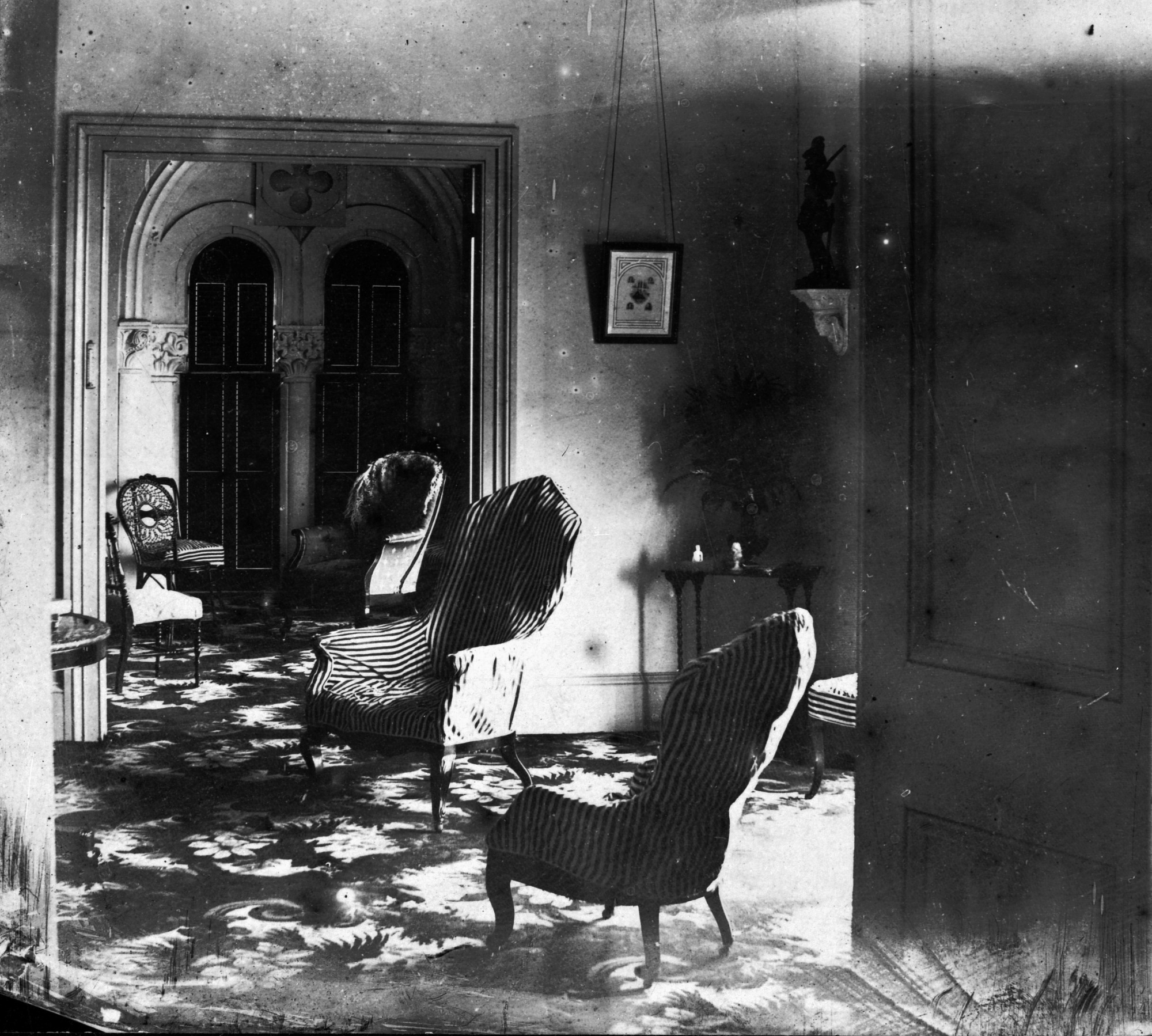 Image of Joseph Henry's apartments in the East Wing of the Smithsonian Institution Building, where the Philosophical Society of Washington met in its first years, by Titian Ramsey Peale, 1862. Smithsonian Institution Archives, negative number mah-x3253.