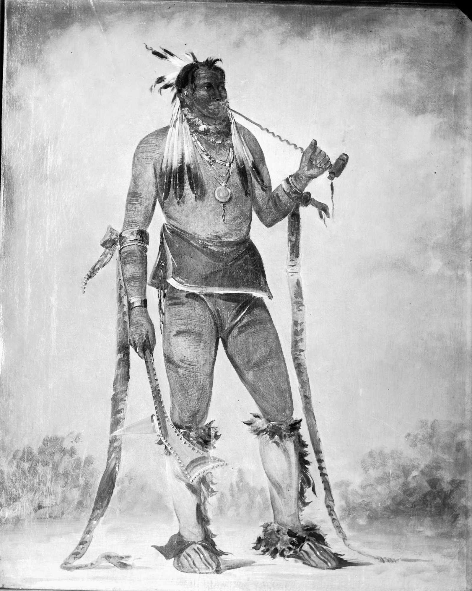 Image is Stanley portrait of Native American with pipe, c. 1860s. Smithsonian Institution Archives, negative number nhb-21805.