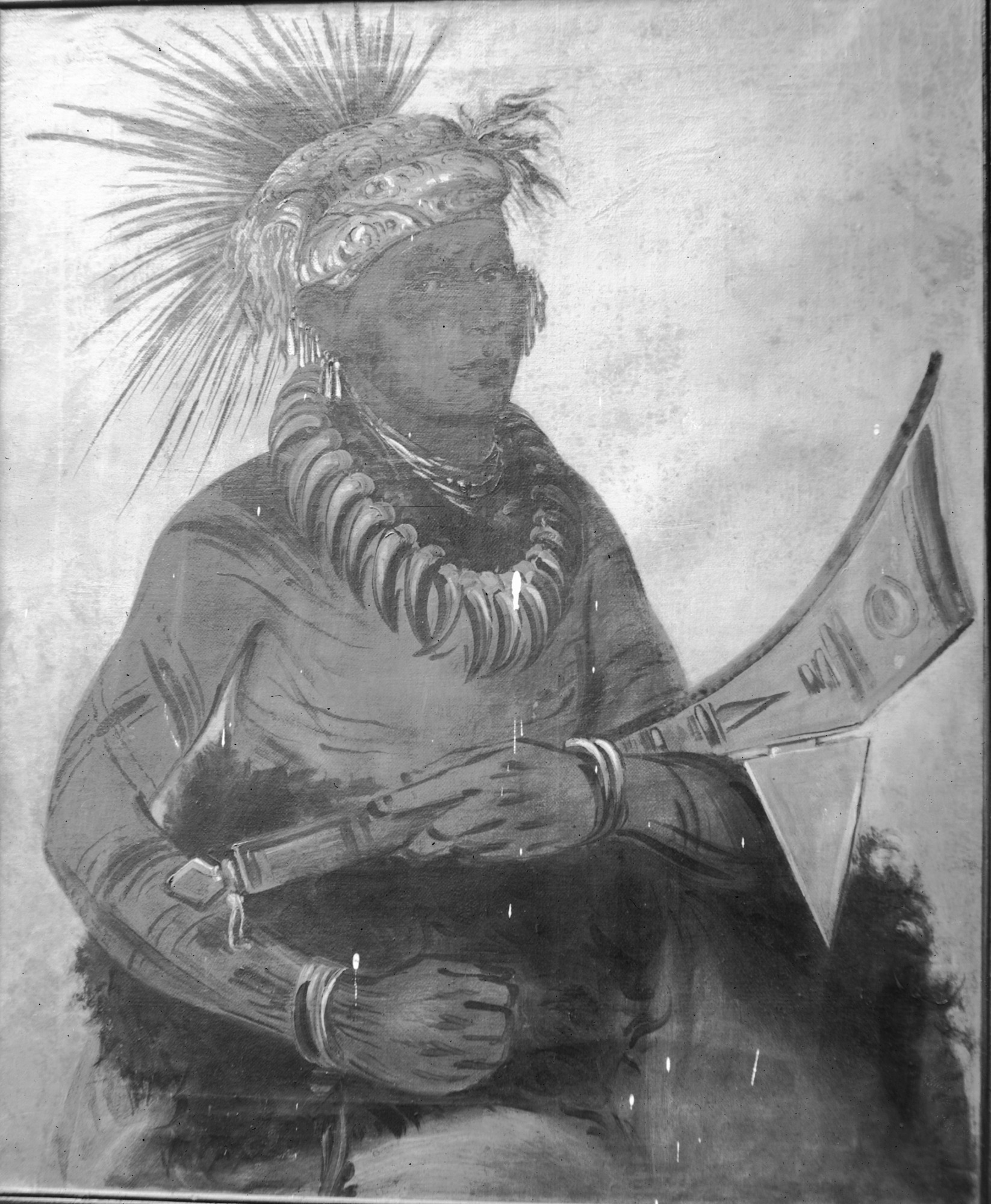 John Mix Stanley painting of a seated Native American, c. 1850s. Smithsonian Institution Archives, negative number 21906.