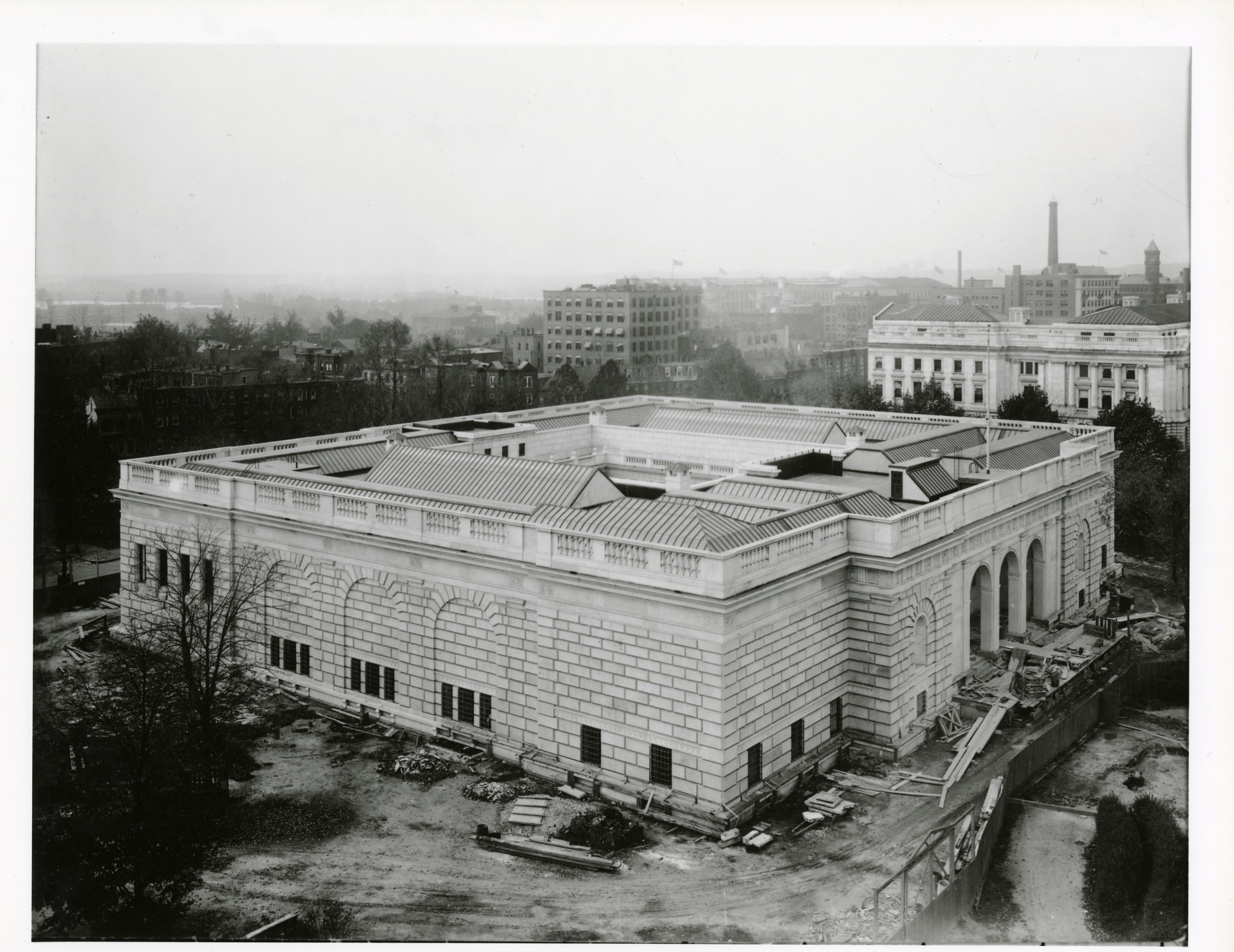 Aerial View of Completed East and North Front of Freer Gallery