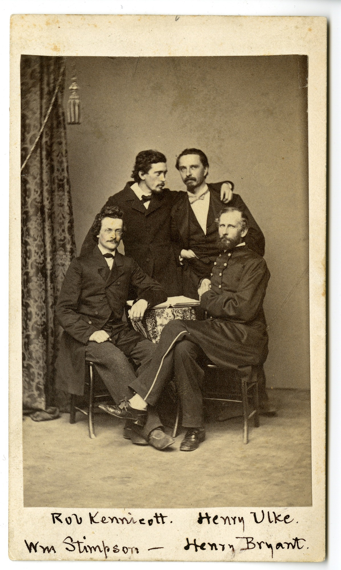 Members of the Megatherium Club: Robert Kennicott, Henry Ulke, Henry Bryant and William Stimpson.