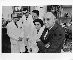 Image of Dr. Klaus Heinrich Hofmann (at right in foreground) with Biochemistry Research Team