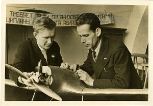 Image of N. N. Kazik (left) and P. V. Pylkov (right) with a Soviet-Made Airplane-Model with a Gasoline Motor