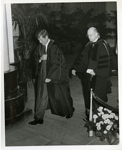 Image of U.S. President John Fitzgerald Kennedy (left) and Frederick Seitz (right), at the National Academy of Sciences Centennial