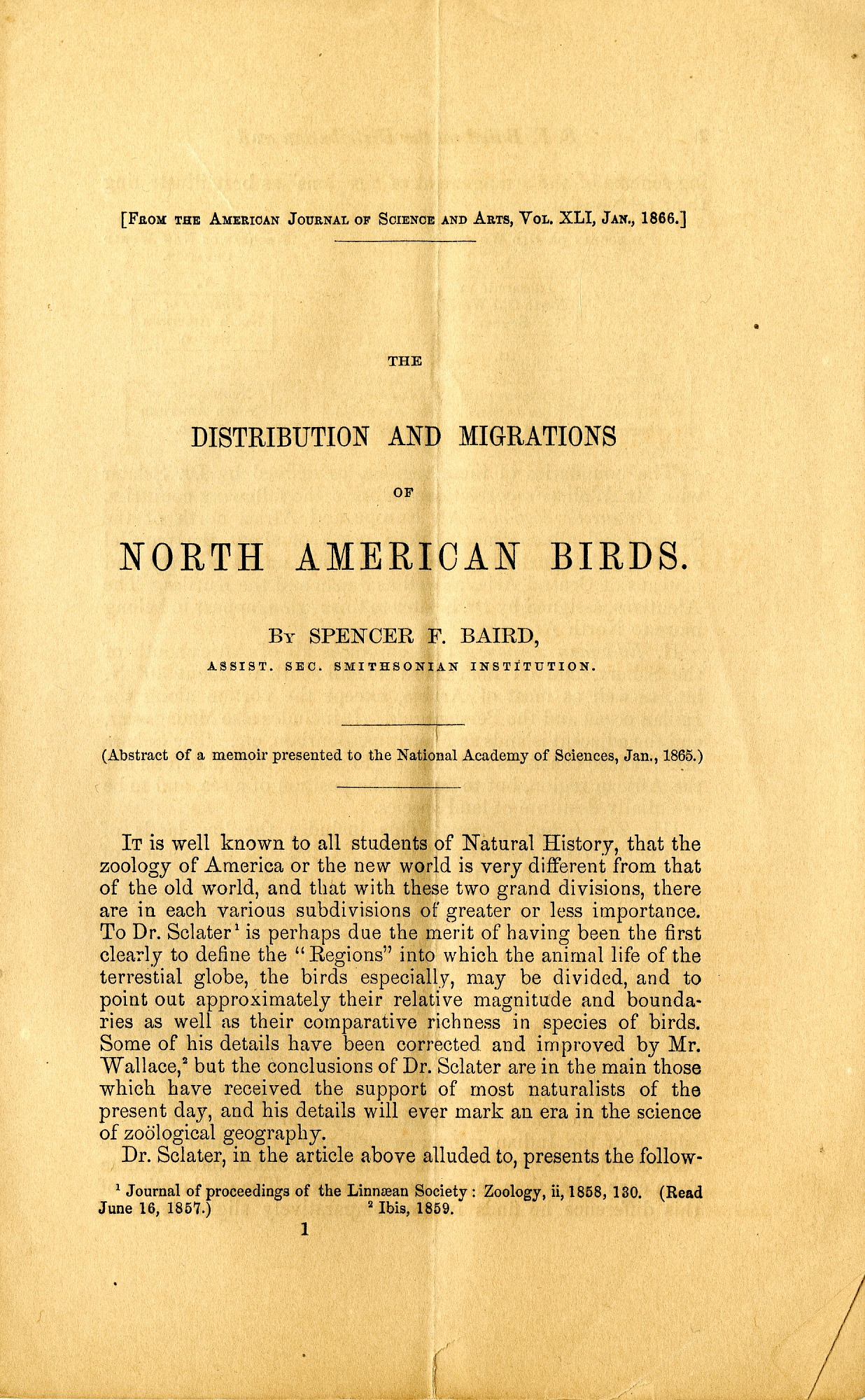 The Distribution and Migration of North American Birds, January, 1866