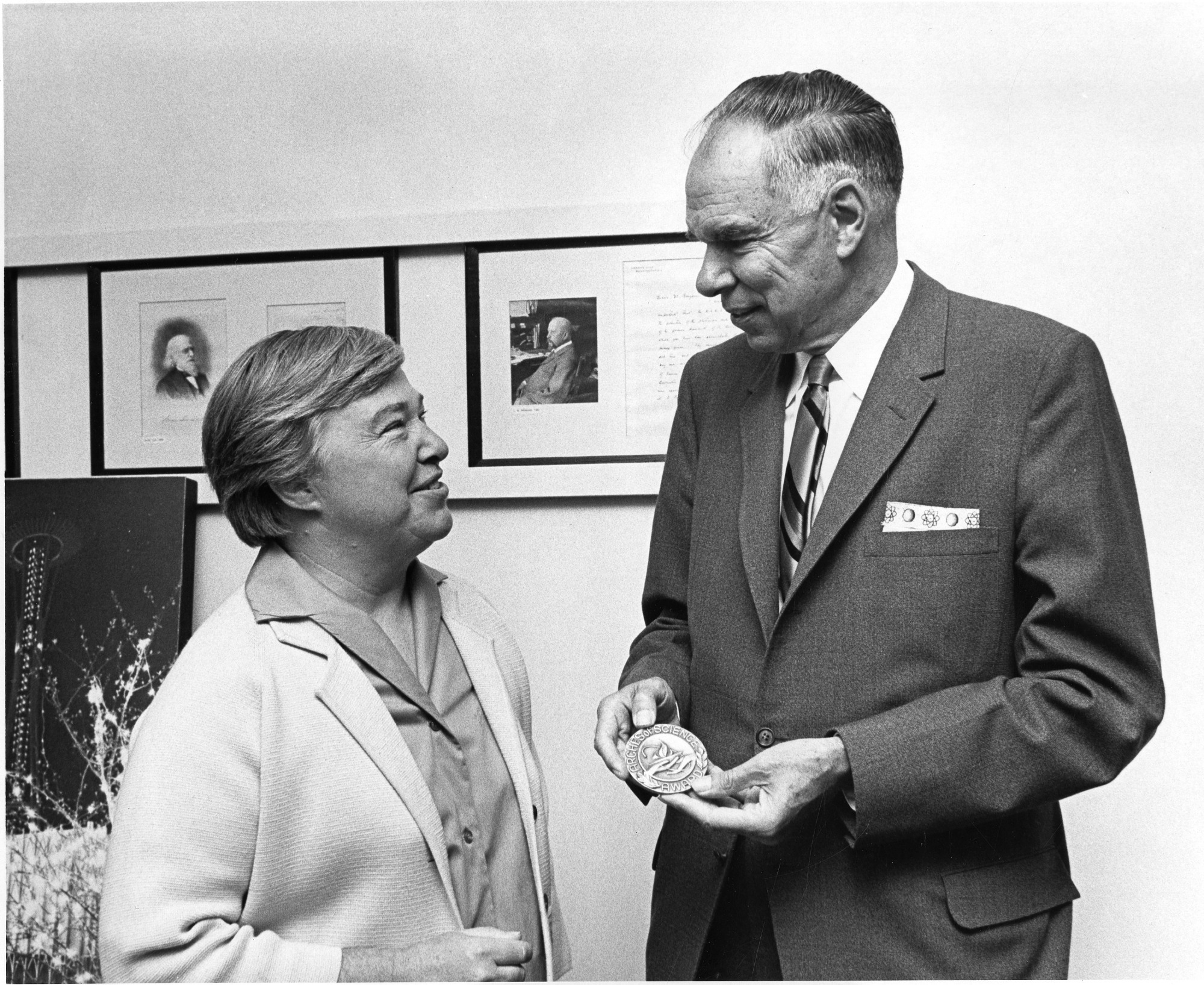 left to right: Dixy Lee Ray (1914-1994) and Glenn Theodore Seaborg (1912-1999)