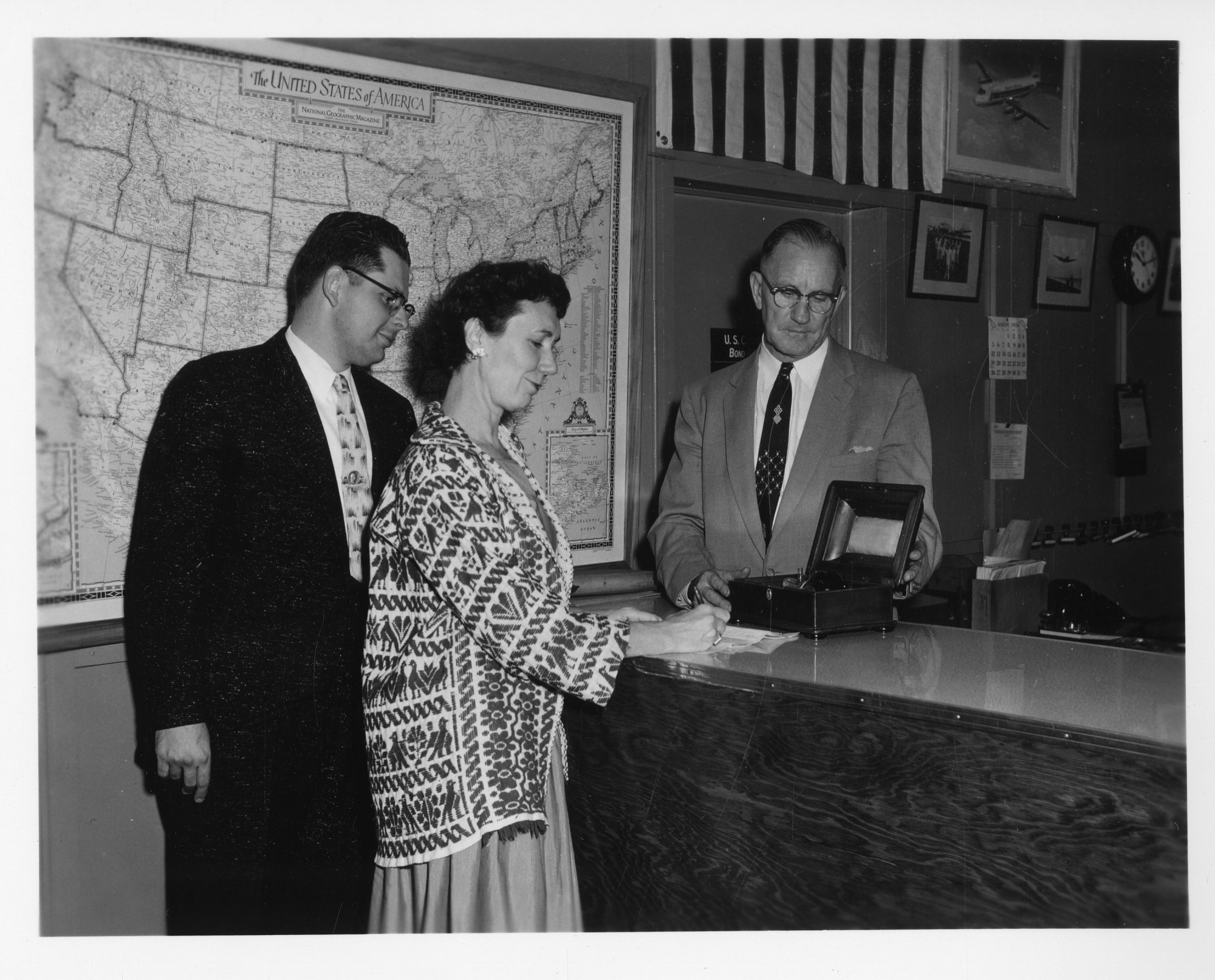 Helena Weiss, George B. Griffenhagen and Bane, by Unknown, August 24, 1956, Smithsonian Archives - History Div, SIA2009-4253.