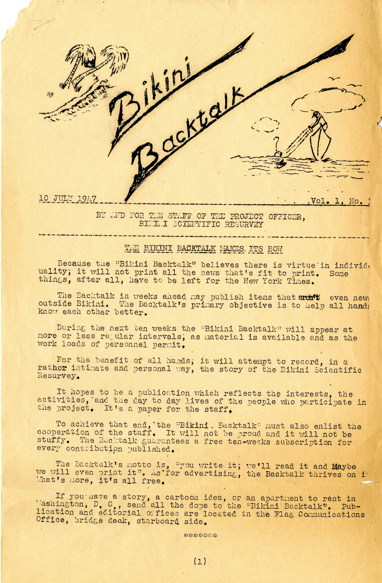 Preview of Bikini Backtalk Newsletter Vol. 1, No. 1 July 10, 1947