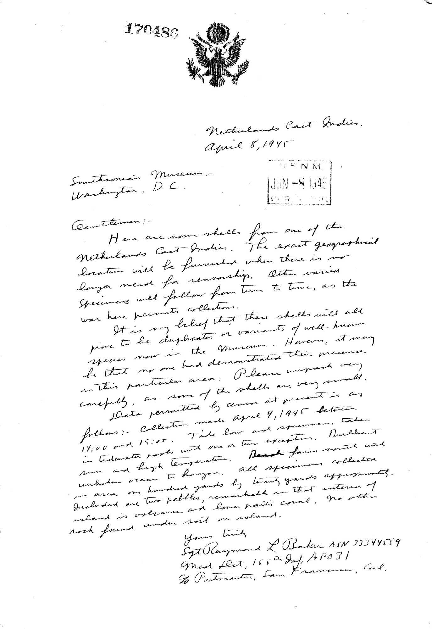 Letter from Sgt. Raymond L. Baker to the Smithsonian Museum, April 8, 1945