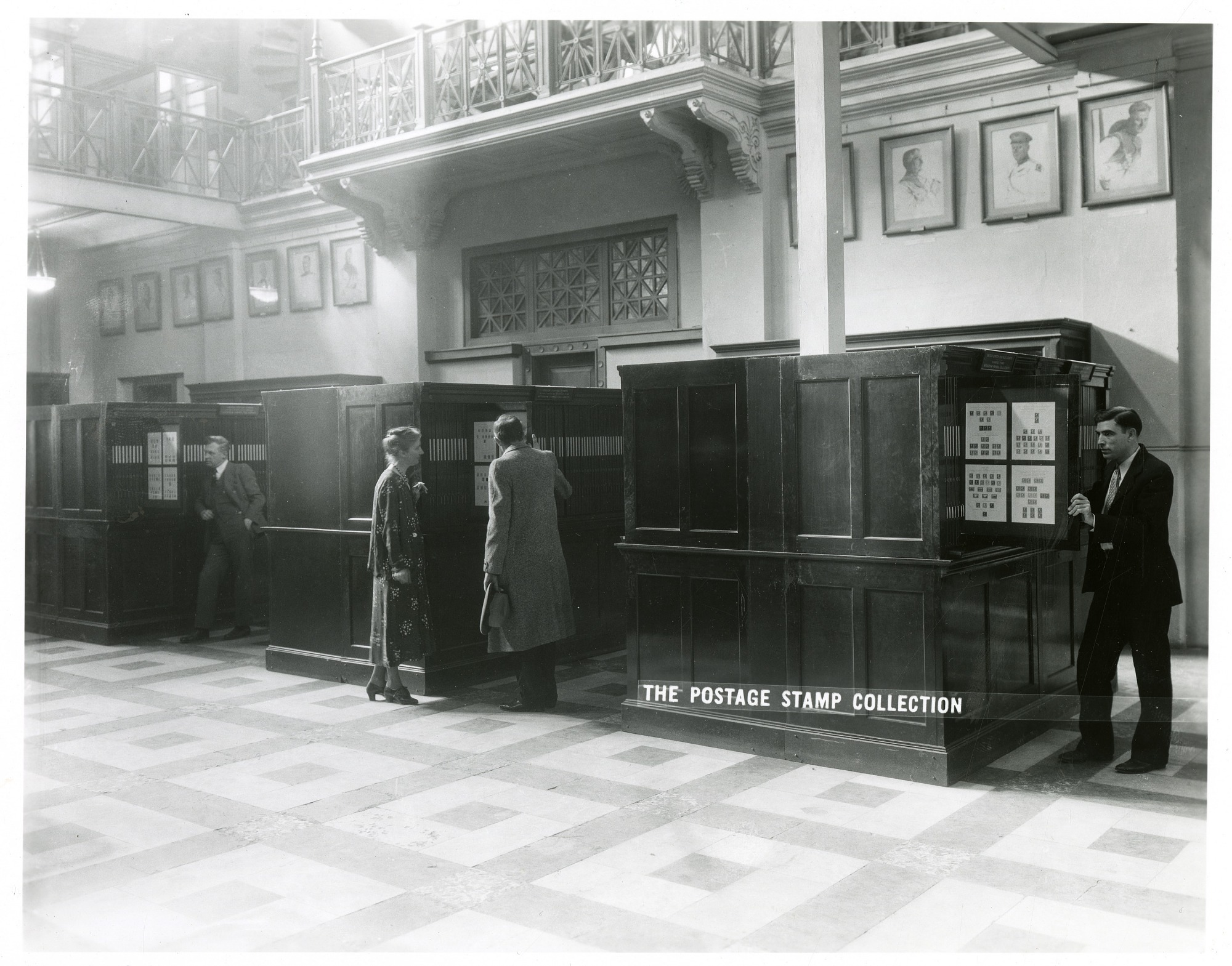 Postage Stamp Collection in A&I Bldg, by Unknown, Smithsonian Archives - History Div, SIA2010-2544 or 11064A or MAH-11064A.