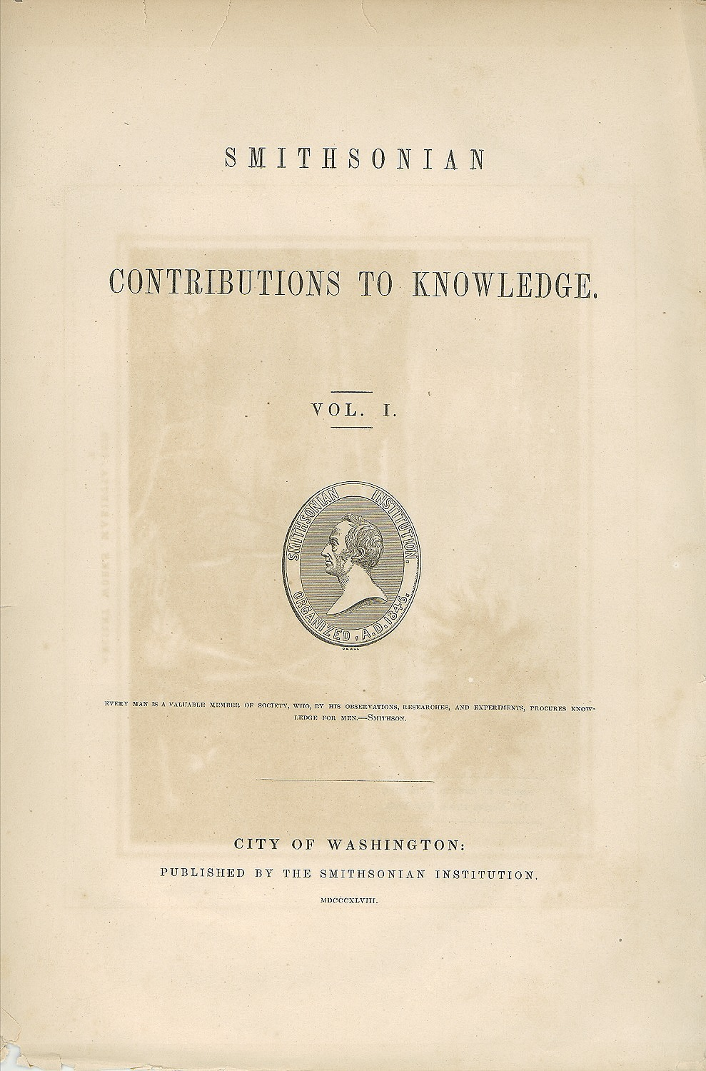 Image is cover of Smithsonian Contributions to Knowledge, volume 1, Smithsonian Institution Archives, negative number SIA2011-0512.