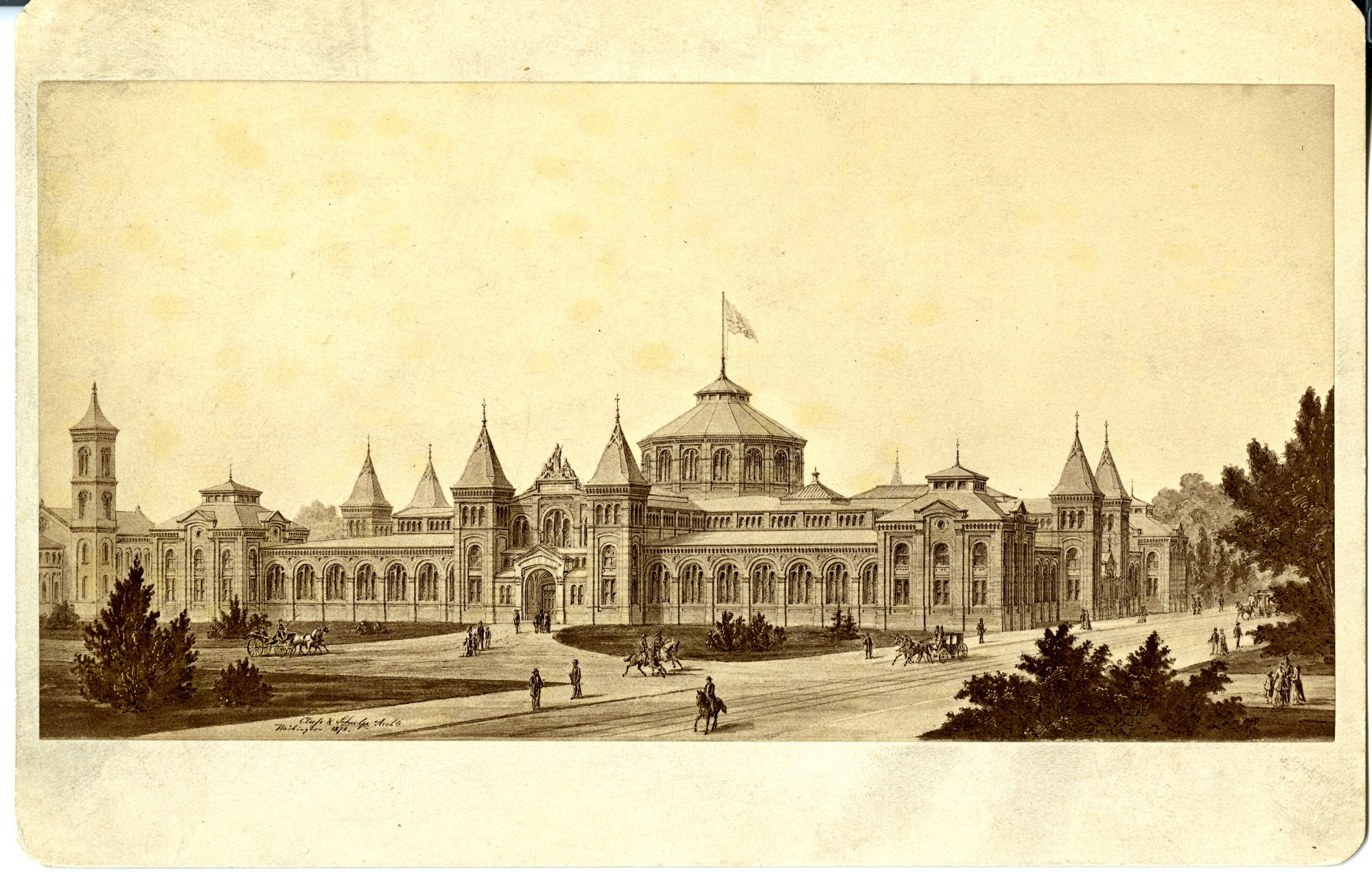 Rendering of the new United States National Museum, now the Arts & Industries, building designed by architects Adolph Cluss and Rudolph Schulze, 1878. Smithsonian Institution Archives, negative number SIA2011-1079.