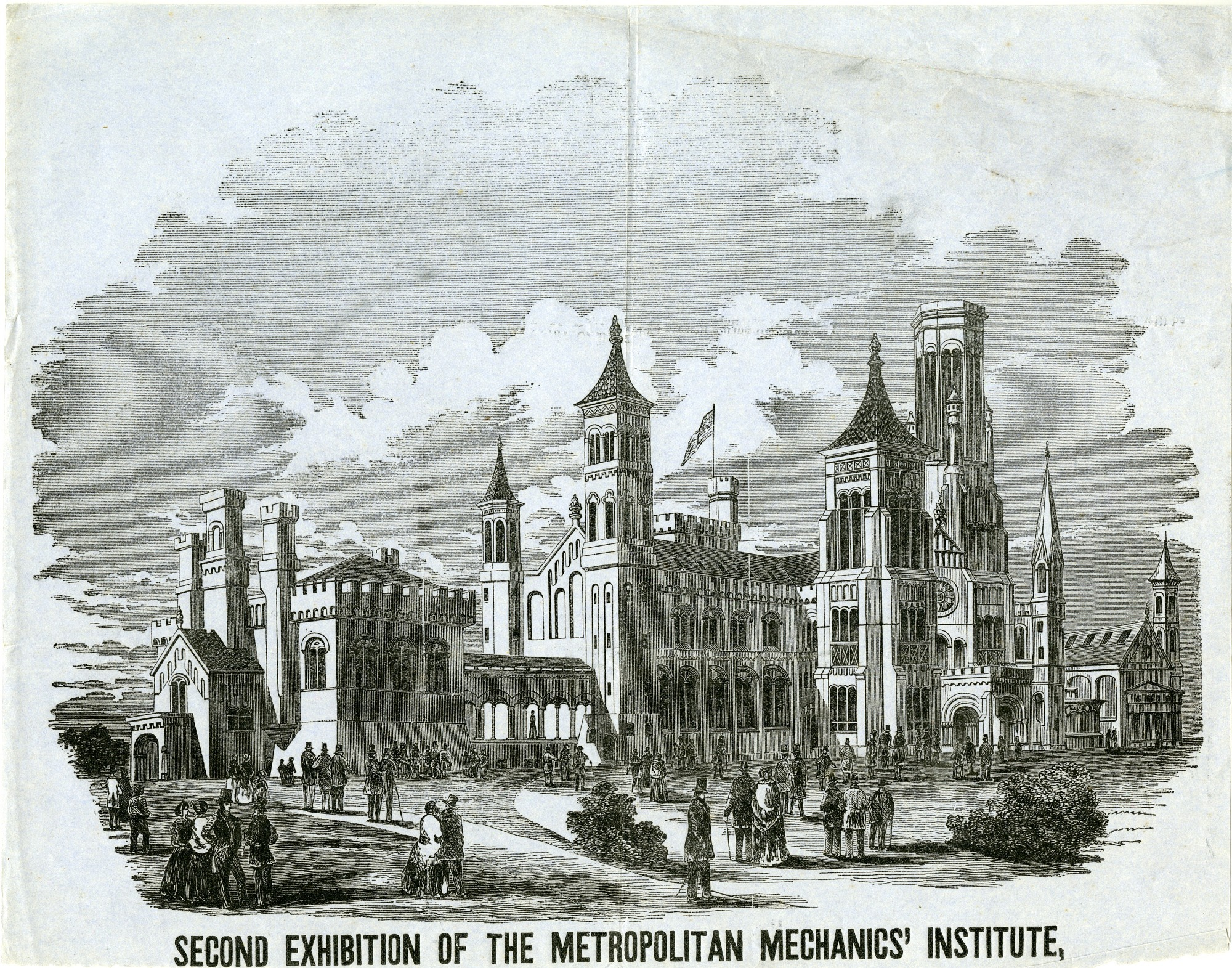 Engraving of the Smithsonian Institution Building, 1855. Smithsonian Institution Archives, negative number SIA2012-1449.