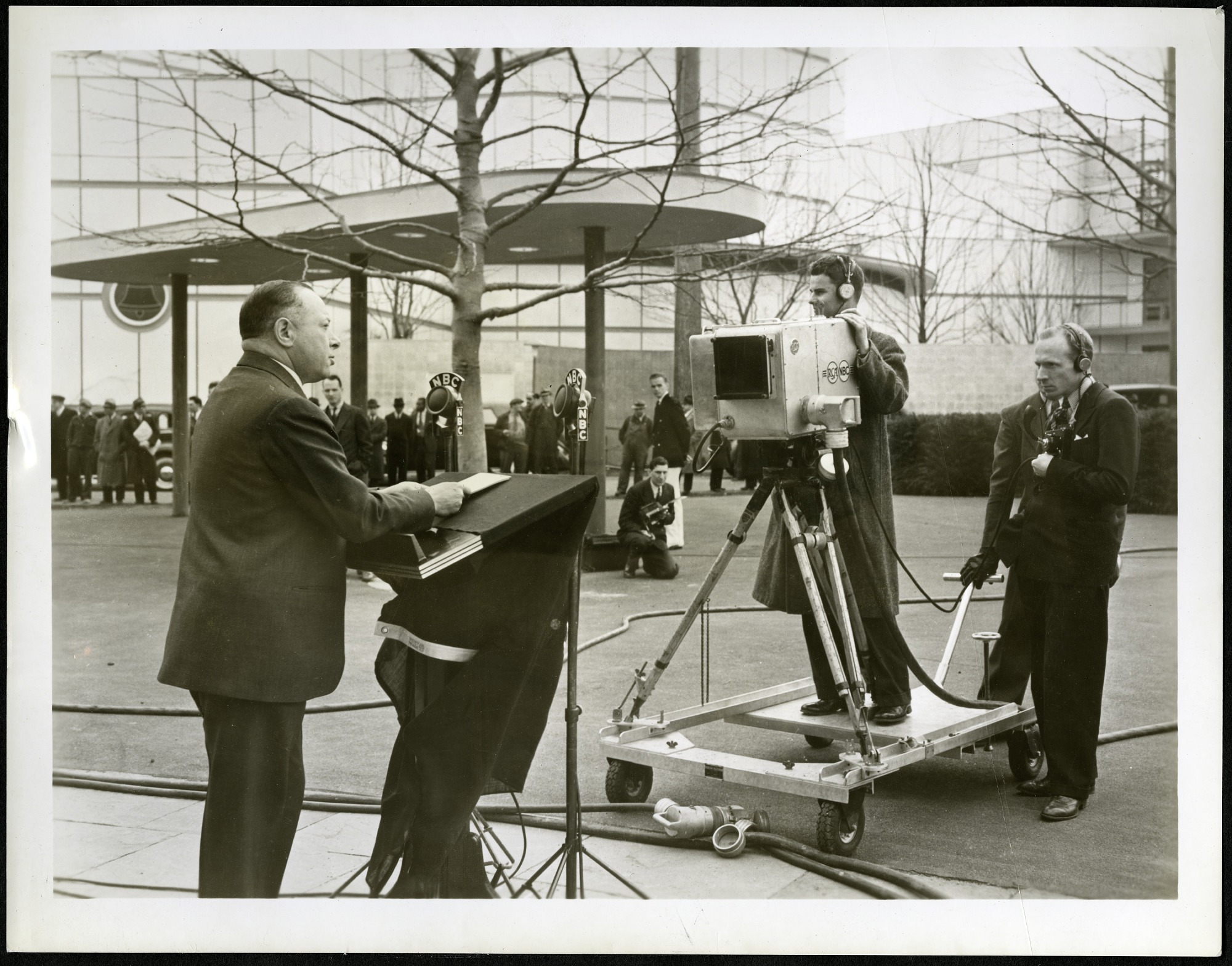 David Sarnoff (1891-1971) in Front of TV Cameras at the 1939 World's Fair
