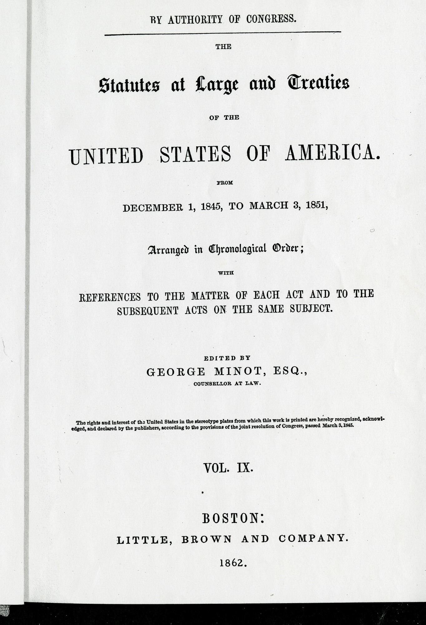 Cover to 1862 Statutes at Large, 1862, Smithsonian Archives - History Div, SIA2011-2253.