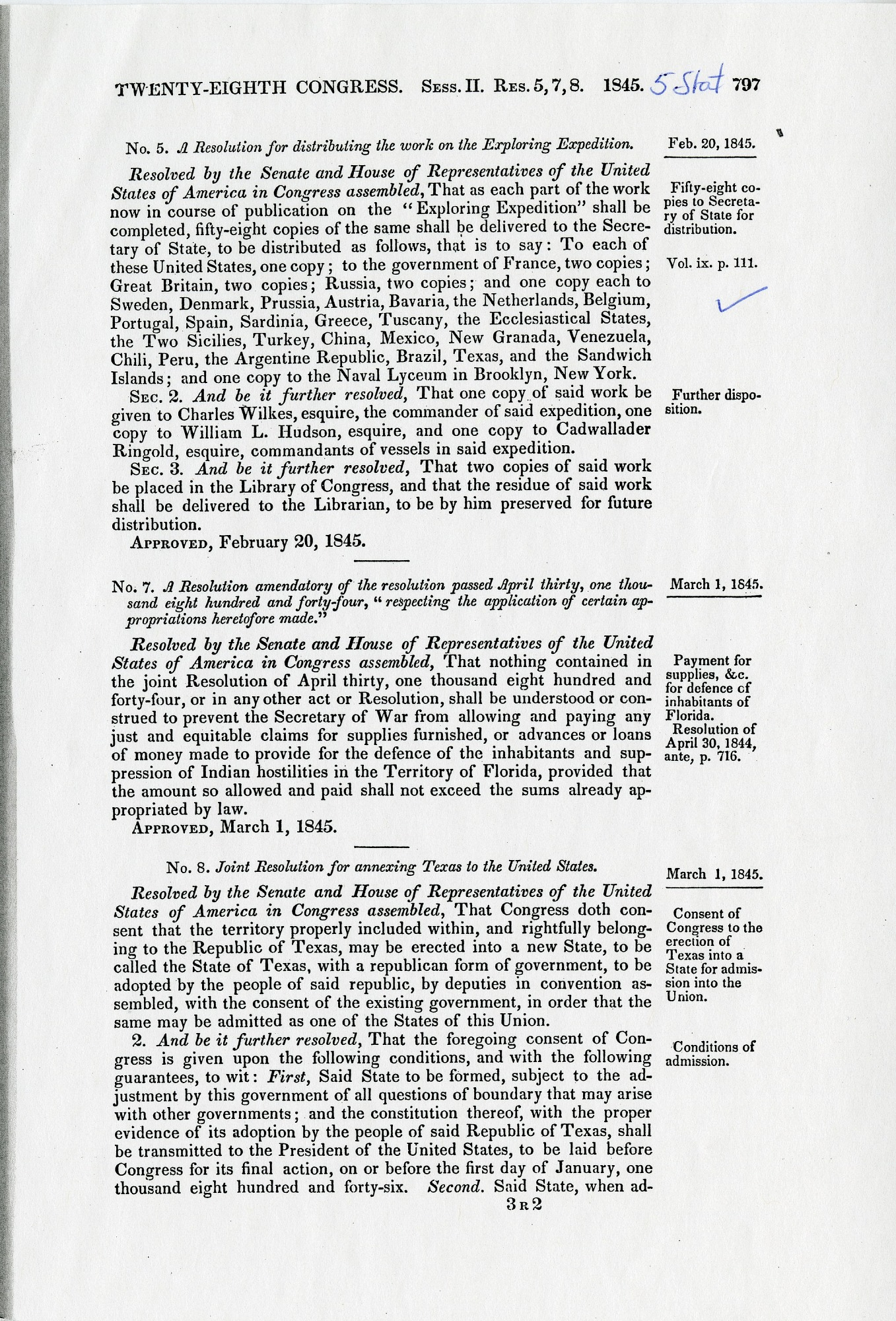 Resolution on the U.S. Exploring Expedition
