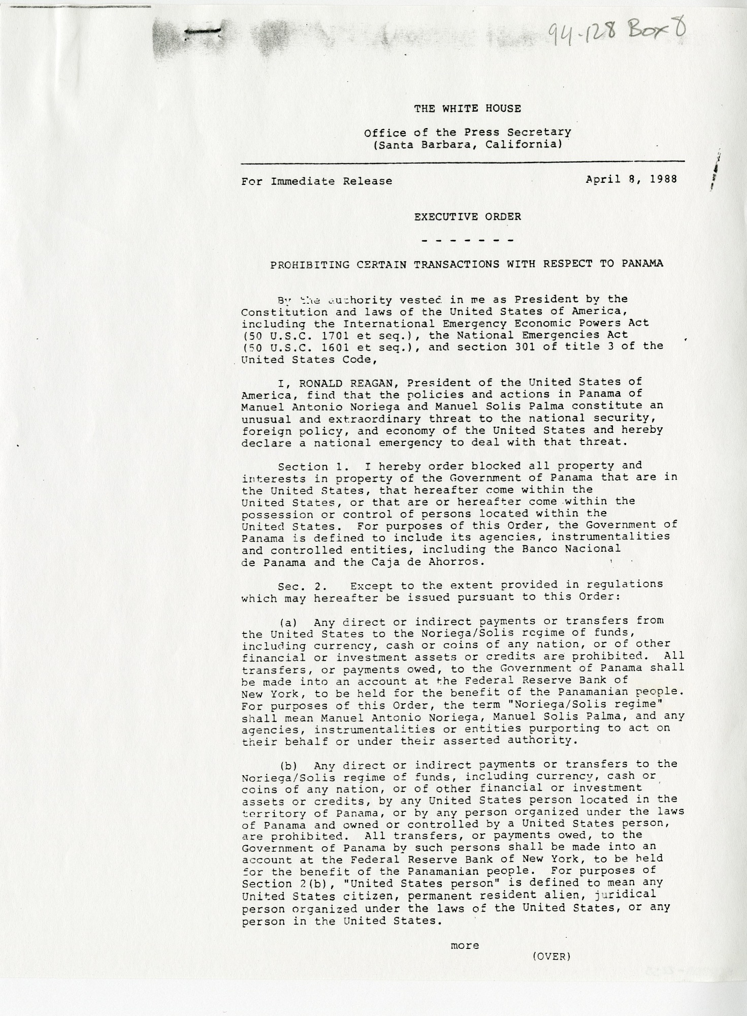Executive Order 12635, 1988, Smithsonian Archives - History Div, SIA2011-2255, SIA2011-2256.