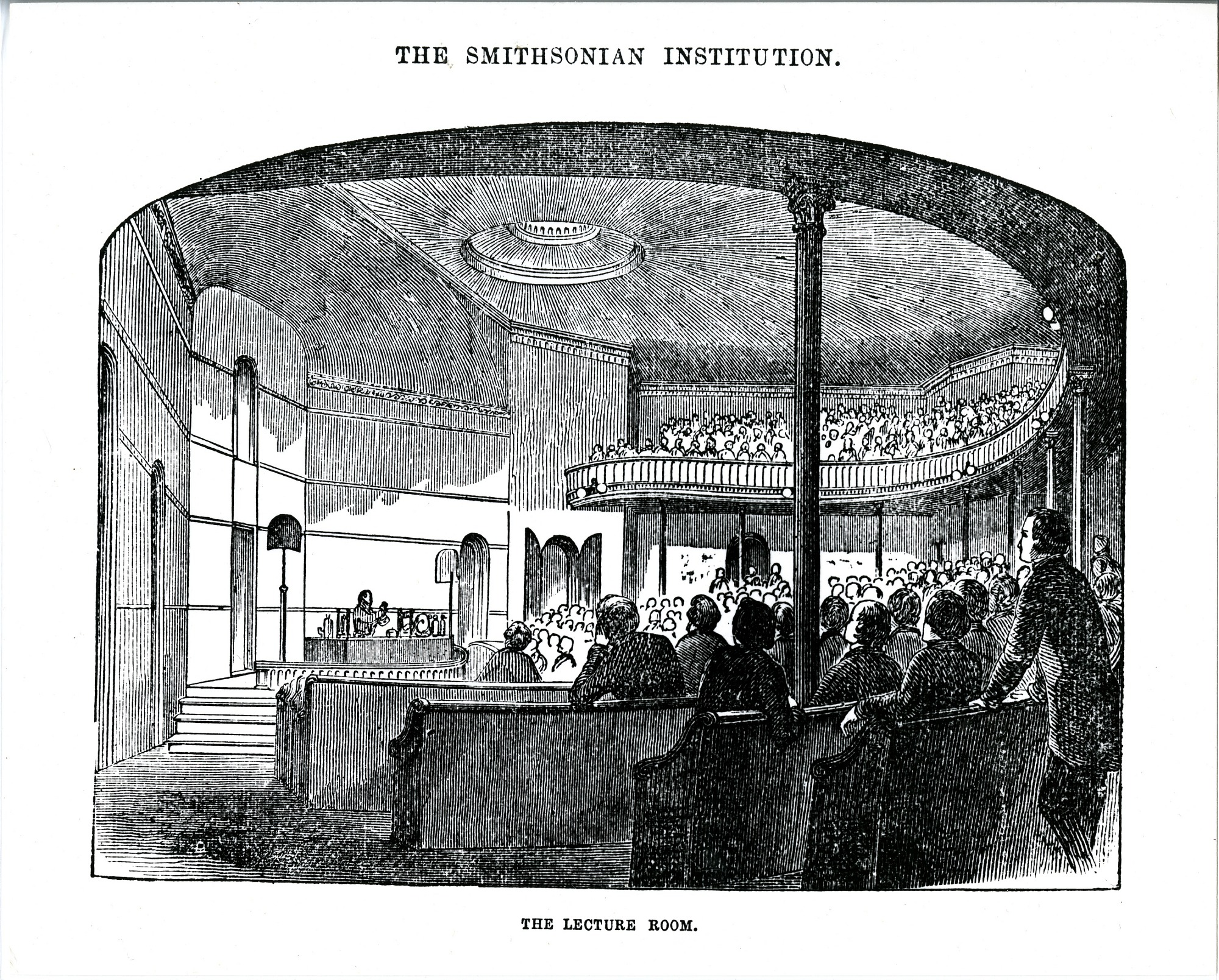 Engraving of Lecture Hall in Smithsonian Institution Building, Smithsonian Institution Archives, negative number SIA2011-2390.