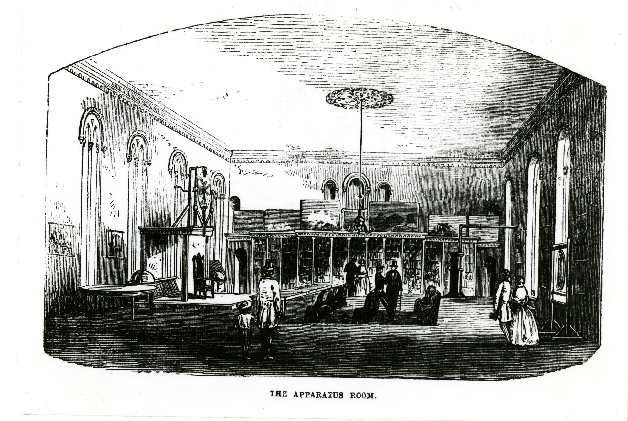 Image is of Apparatus Room in Smithsonian Institution Castle with Dr. Hare's apparatus on display, 1857, Smithsonian Institution Archives, negative number SIA2011-2394.