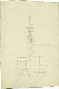 Image of Elevation and Partial Plan of the Smithsonian Institution Building's Northeast Tower