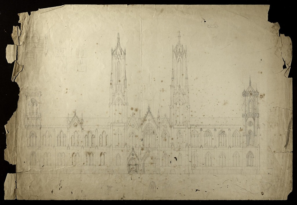 This drawing depicts the central pavilion of the north fac̦ade of the Smithsonian Institution Building. It is done in pencil on paper by architect James Renwick, Jr., as a developmental study in which he appears to be working out relationships between different architectural elements of the Smithsonian Institution Building, 1846. In this Gothic scheme design, the building's north towers are symmetrical and stand on either side of the north entrance. Smithsonian Institution Archives, negative number SIA2012-1142.