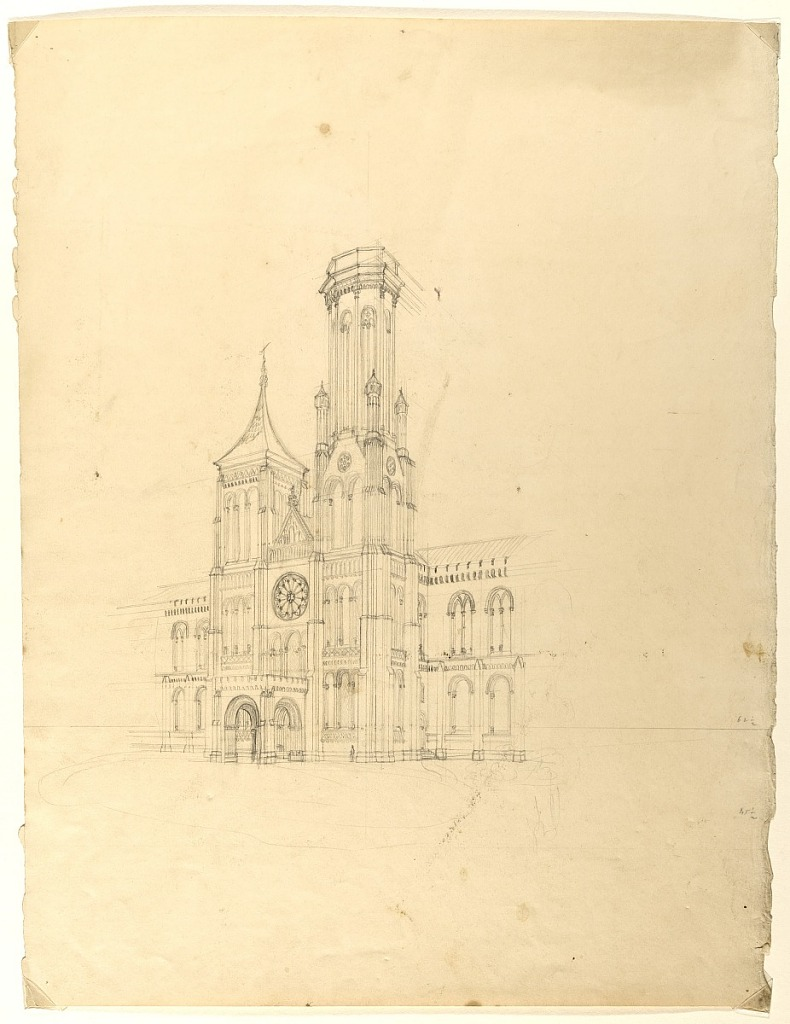 Image is architectural drawing of the north facade by architect James Renwick, 1846, Smithsonian Institution Archives, negative number SIA2012-1145.