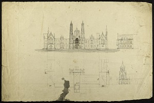 Image of Earliest Known Sketches of the Smithsonian Institution Building