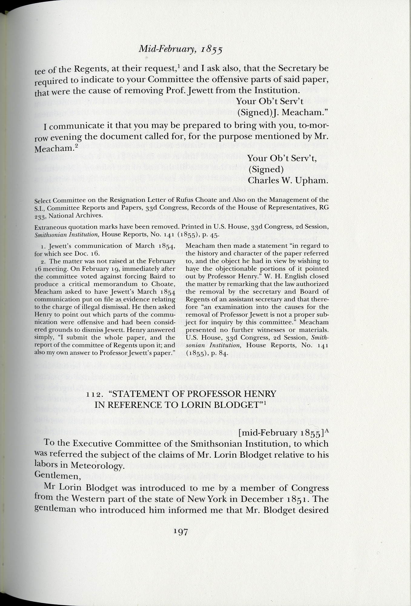 """""""Statement of Professor Henry in Reference to Lorin Blodget"""" (mid-February 1855)"""