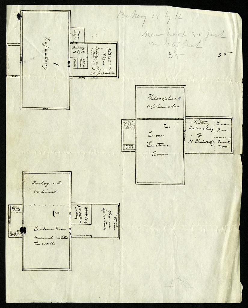 Sketch by Joseph Henry of Philosophical Hall at the College of New Jersey, 1830. Smithsonian Institution Archives, negative number SIA2012-3616.