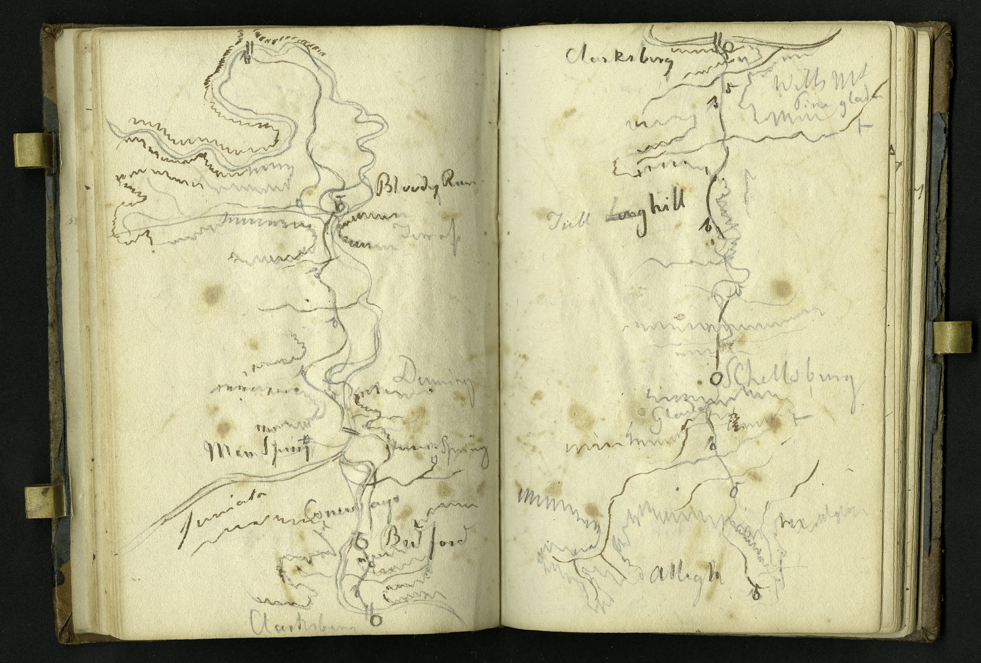 Notebook kept by Rafinesque on a trip from Philadelphia to Kentucky, 1818 [Smithsonian Institution Archives. Record Unit 7250. Negative number SIA2012-6086.]