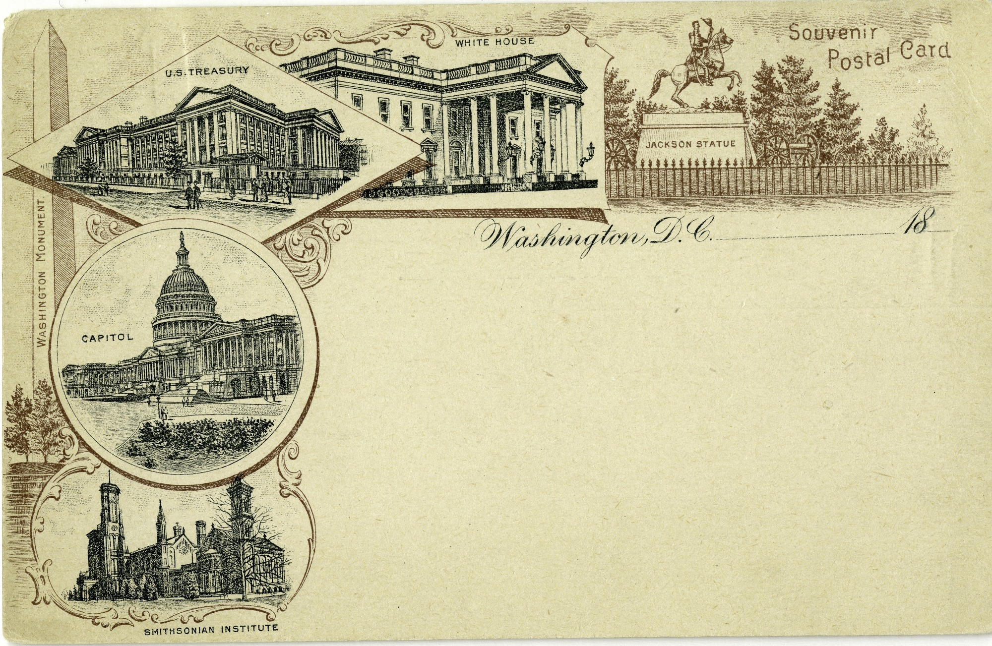 Postcard of Notable Sites in DC, by United States Government Printing Office, c. 1886-1898, Smithsonian Archives - History Div, SIA2013-01127 (front) and SIA2013-01128 (back).