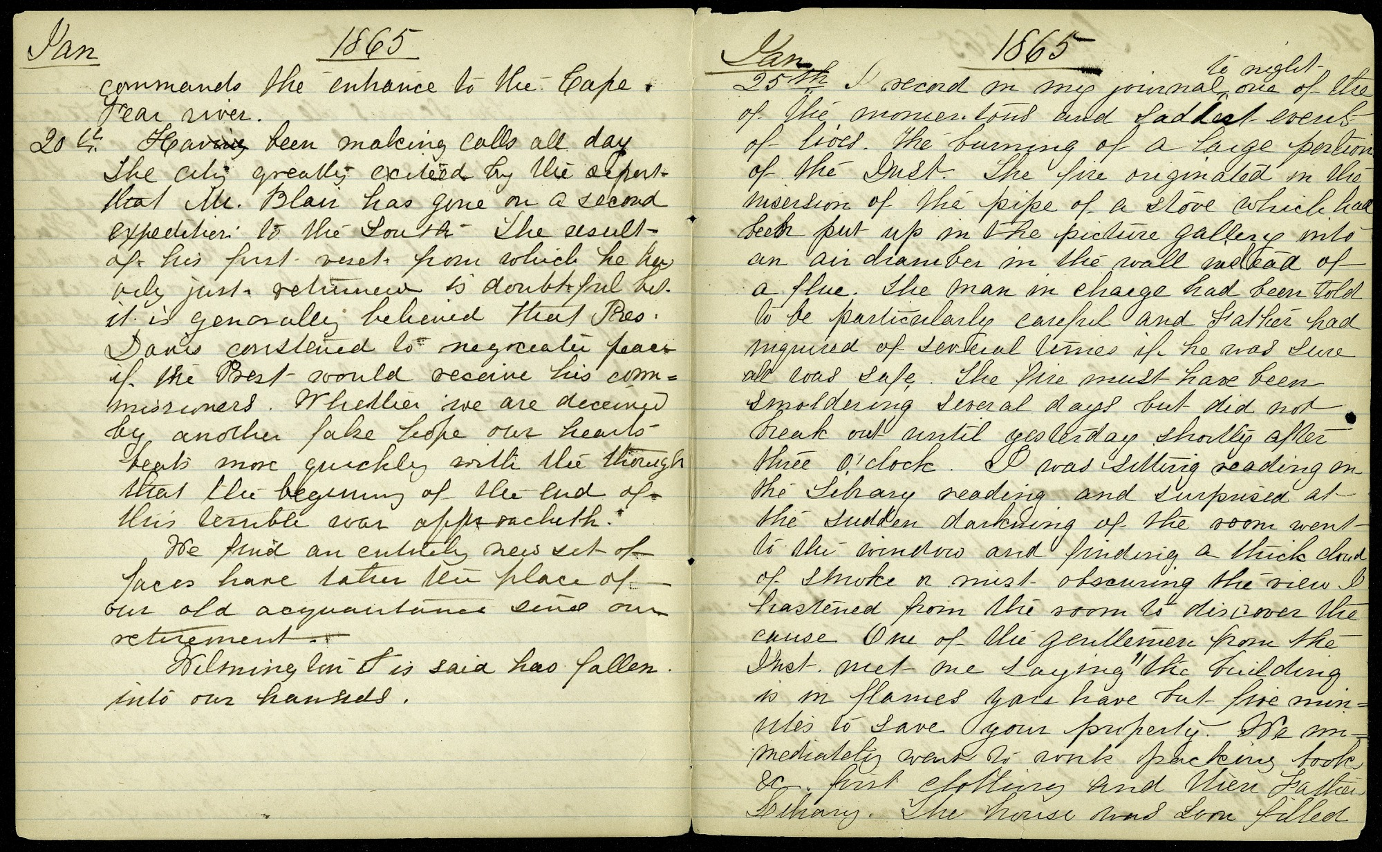 Mary Henry Diary Entries, January 25-26, 1865, Fire in the Castle