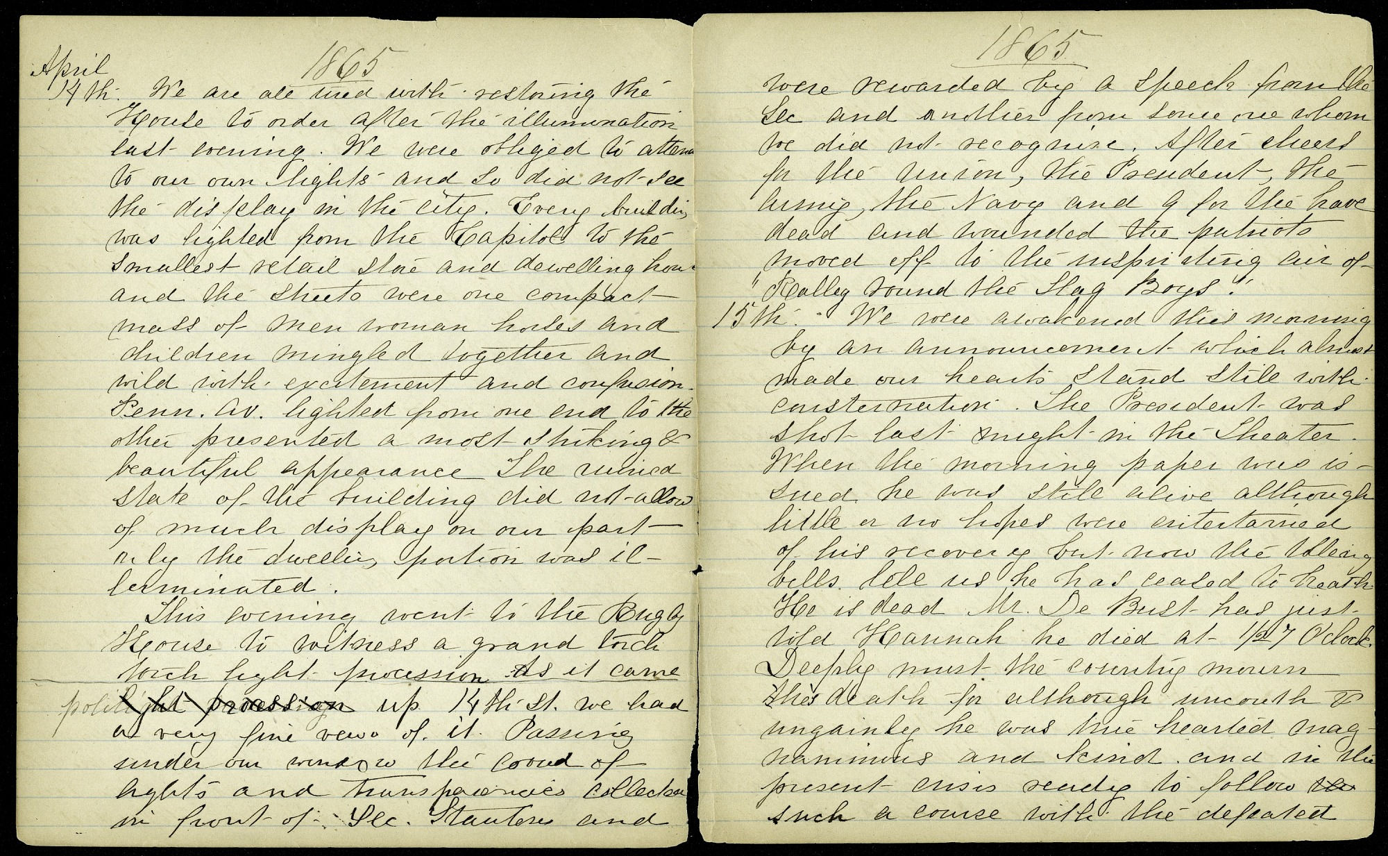 Mary Henry Diary Entries, April 1865, Death of President Lincoln