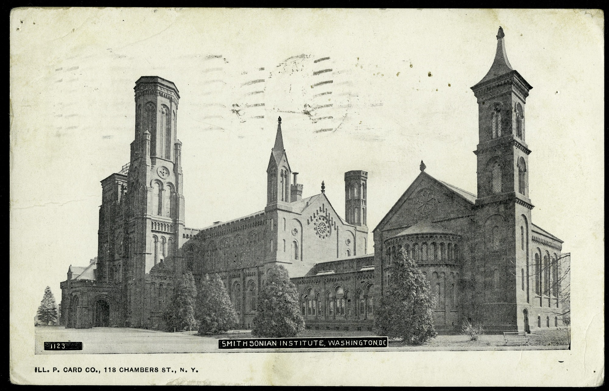 Grayscale Postcard of the Smithsonian Institution Castle, February 13, 1905, Smithsonian Archives - History Div, SIA2013-06633 (front) and SIA2013-06634 (back).