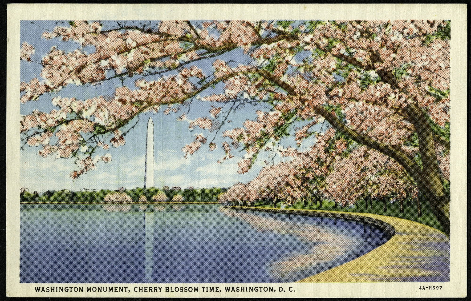 Postcard of Washington Monument during Cherry Blossom Time, by B.S. Reynolds Co. Washington, DC, 1934, Smithsonian Archives - History Div, SIA2013-06677 (front) and SIA2013-06678 (back).