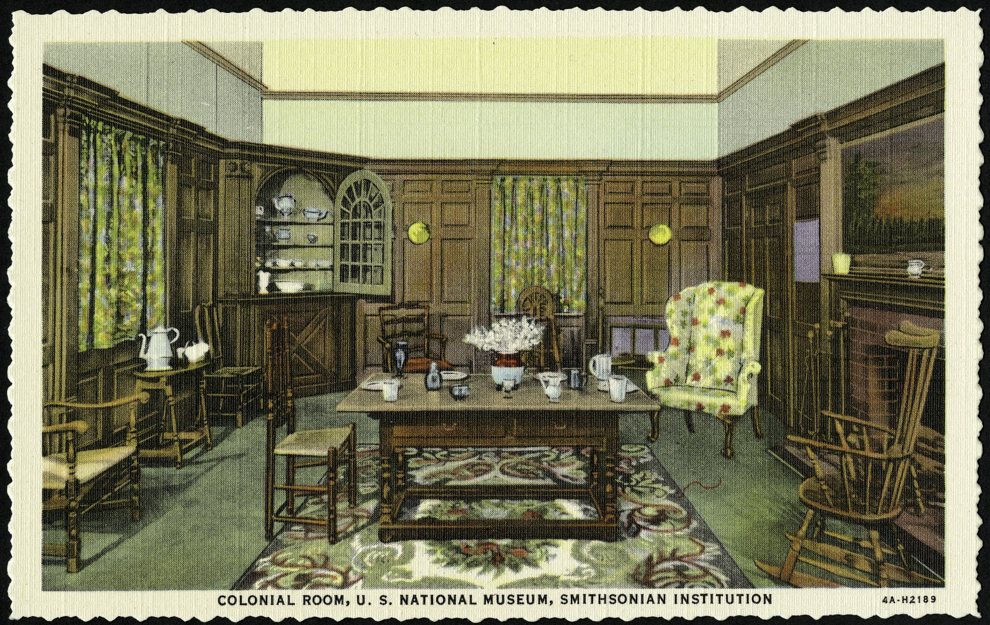 Postcard of the Colonial Room in the United States National Museum, by Curt Teich & Co, 1934, Smithsonian Archives - History Div, SIA2013-07221 (front) and SIA2013-07222 (back).