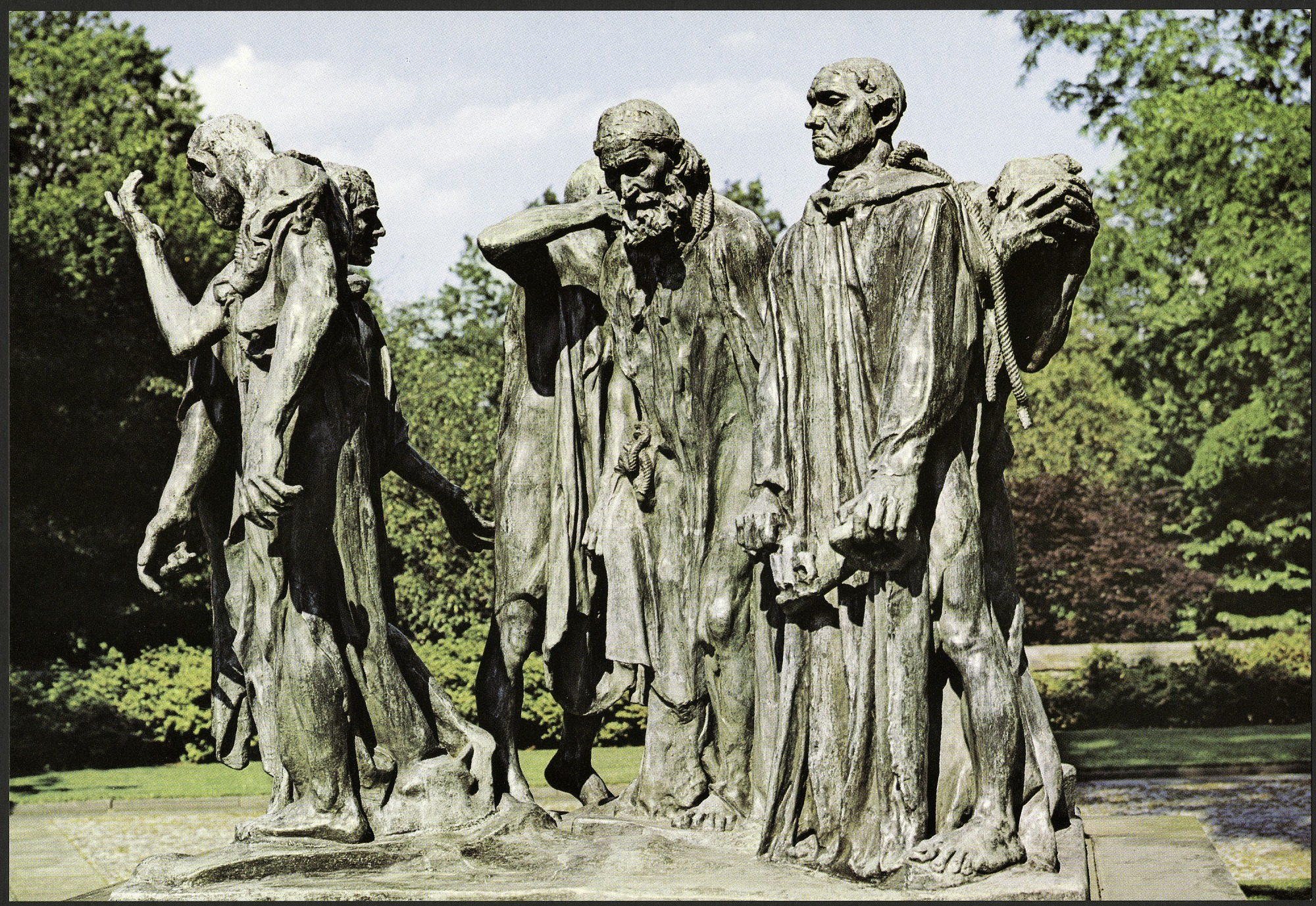 "Postcard of ""The Burghers of Calais"", by Museum Press, Inc, c. 1980, Smithsonian Archives - History Div, SIA2013-07725 (front) and SIA2013-07726 (back)."