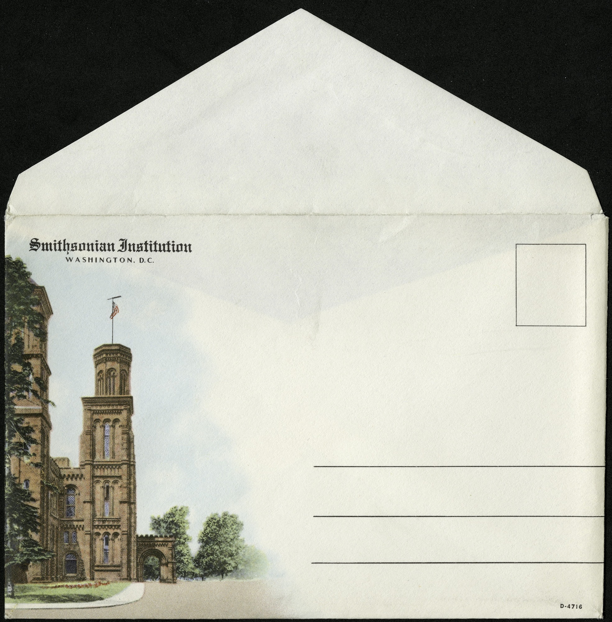 Postcard Envelope with Image of Castle, by Curt Teich & Co, 1936, Smithsonian Archives - History Div, SIA2013-07811.