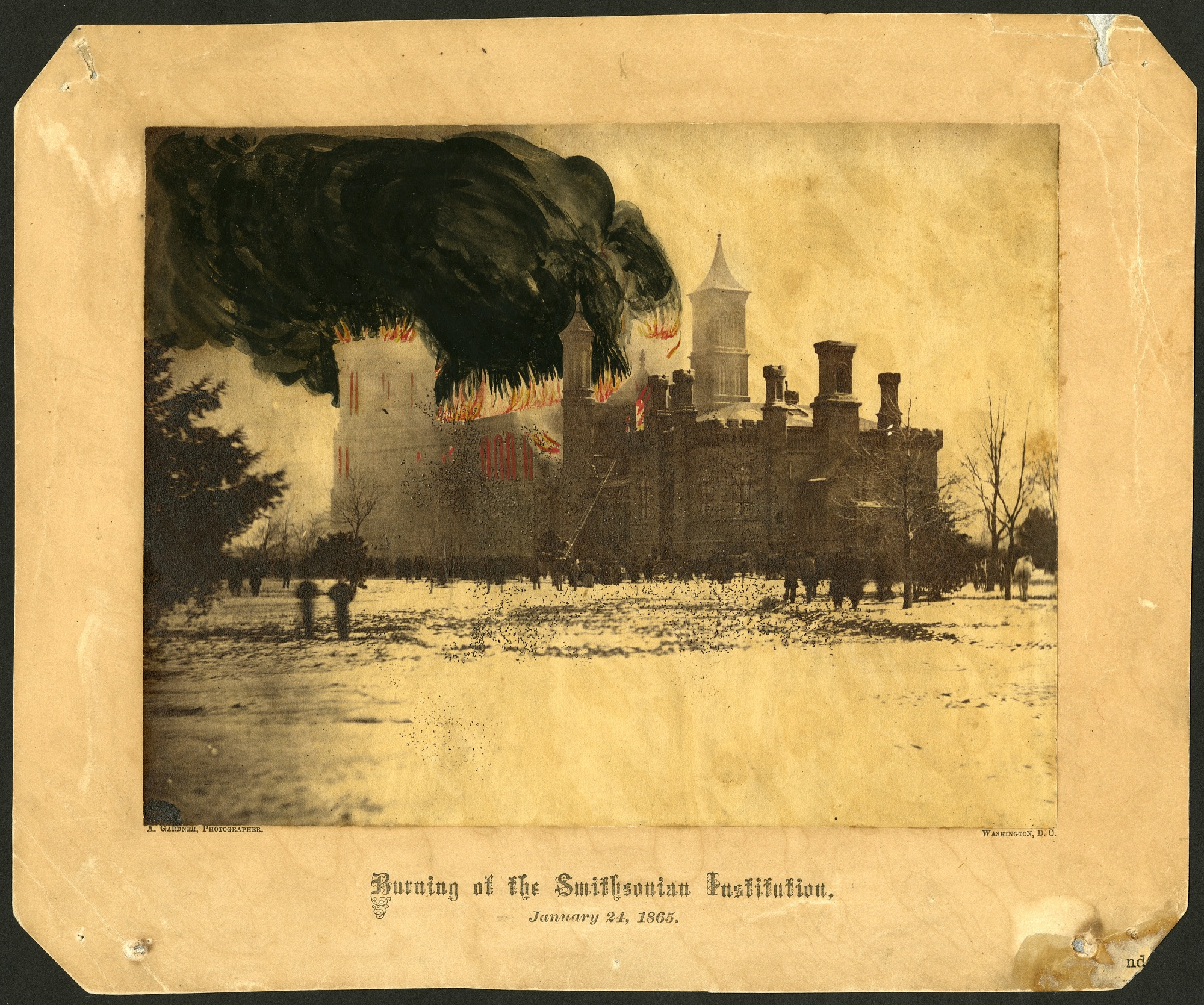 Color Image of the Smithsonian Castle on Fire