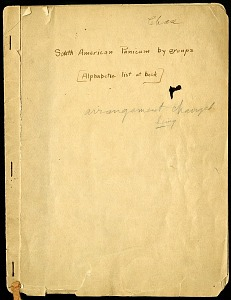 Image of Mary Agnes Chase correspondence and notes documenting her research on grasses in Brazil and Puerto Rico, c. 1924-1941, contains a copy of the itinerary of Carl von Martius's 1817-1820 exploring trip to Brazil. (Accession 06-208)